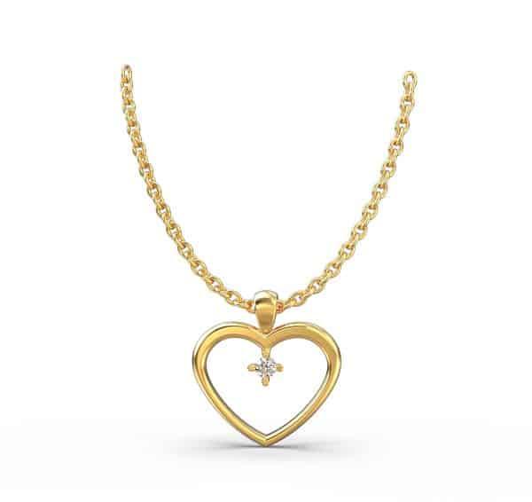שרשרת יהלום לב זהב